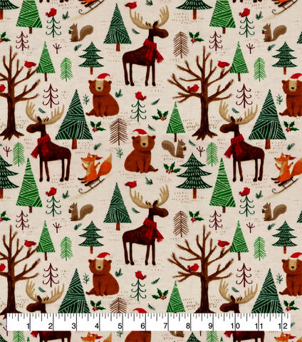 Cotton,Quilt,Fabric,Flannel,Super,Snuggle,Christmas,Forest,Animals,,quilt backing, dresses, quilt fabric,cotton material,auntie chris quilt,sewing,crafts,quilting,online fabric,sale fabric