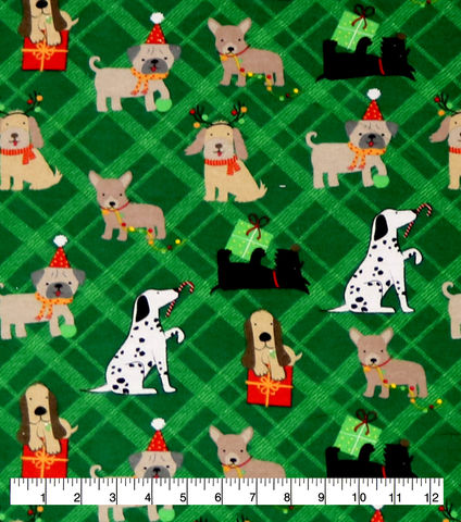 Cotton,Quilt,Fabric,Flannel,Super,Snuggle,Playful,Christmas,Pups,,quilt backing, dresses, quilt fabric,cotton material,auntie chris quilt,sewing,crafts,quilting,online fabric,sale fabric