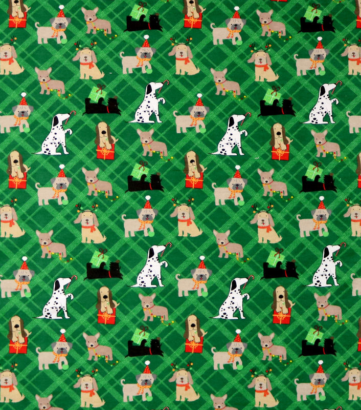 Cotton Quilt Fabric Flannel Super Snuggle Playful Christmas Pups - product images  of