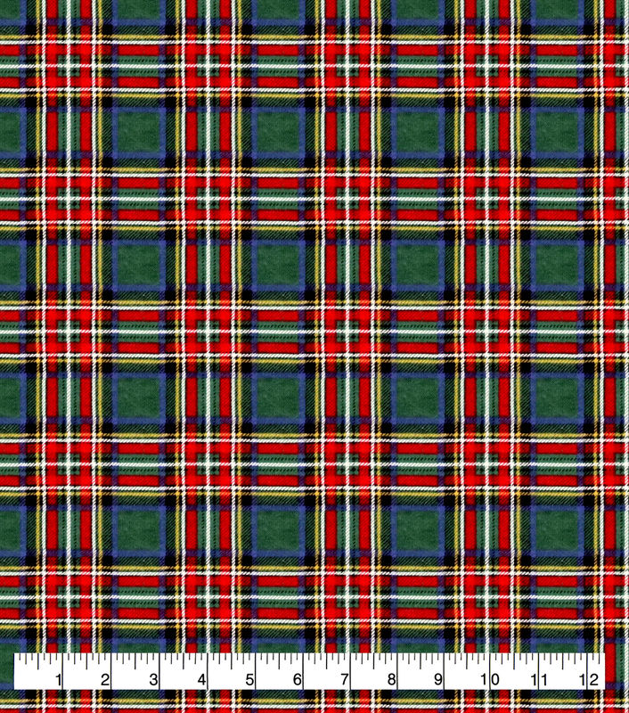 Cotton Quilt Fabric Flannel Super Snuggle Christmas Green Tartan Plaid - product images  of