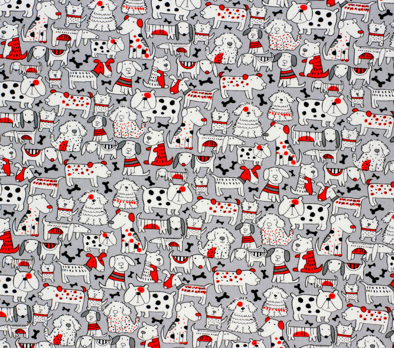 Cotton Quilt Fabric Flannel Super Snuggle Pup Friends Red & Grey - product images  of