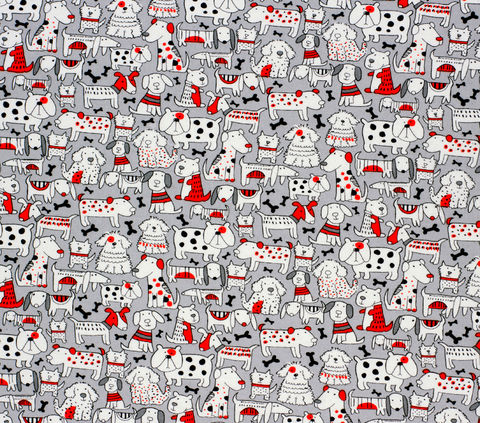 Cotton,Quilt,Fabric,Flannel,Super,Snuggle,Pup,Friends,Red,&,Grey,,quilt backing, dresses, quilt fabric,cotton material,auntie chris quilt,sewing,crafts,quilting,online fabric,sale fabric