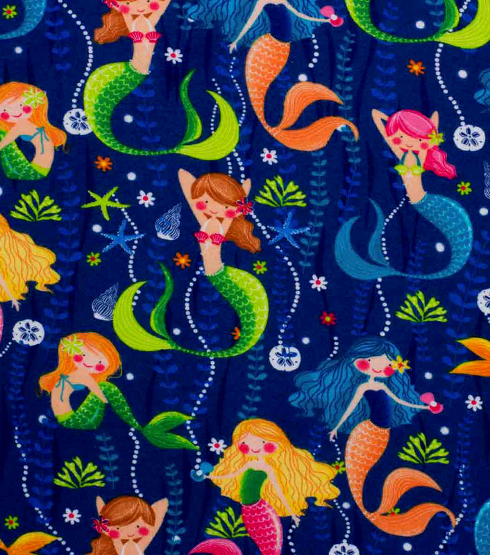 Cotton Quilt Fabric Flannel Super Snuggle Pearls and Mermaids - product images  of