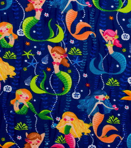 Cotton,Quilt,Fabric,Flannel,Super,Snuggle,Pearls,and,Mermaids,,quilt backing, dresses, quilt fabric,cotton material,auntie chris quilt,sewing,crafts,quilting,online fabric,sale fabric