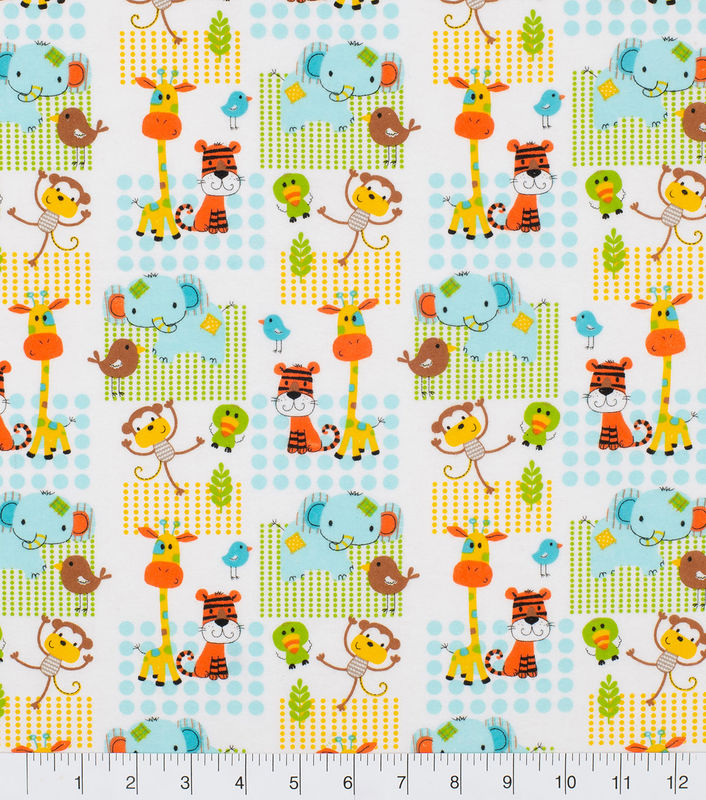 Cotton Quilt Fabric Flannel Super Snuggle Zoo Animals Patch - product images  of