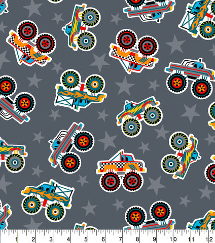 Cotton,Quilt,Fabric,Flannel,Super,Snuggle,Monster,Trucks,Tossed,,quilt backing, dresses, quilt fabric,cotton material,auntie chris quilt,sewing,crafts,quilting,online fabric,sale fabric