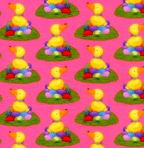Cotton Quilt Fabric Easter Duck N Eggs Spring Pink Purple Multi  - product images  of