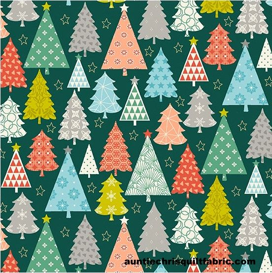 Cotton Quilt Fabric Christmas Merry Trees Green Makower UK  - product images  of