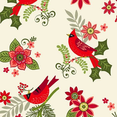 Cotton,Quilt,Fabric,Christmas,Mistletoe,Cardinals,Floral,White,Multi,,quilt backing, dresses, quilt fabric,cotton material,auntie chris quilt,sewing,crafts,quilting,online fabric,sale fabric