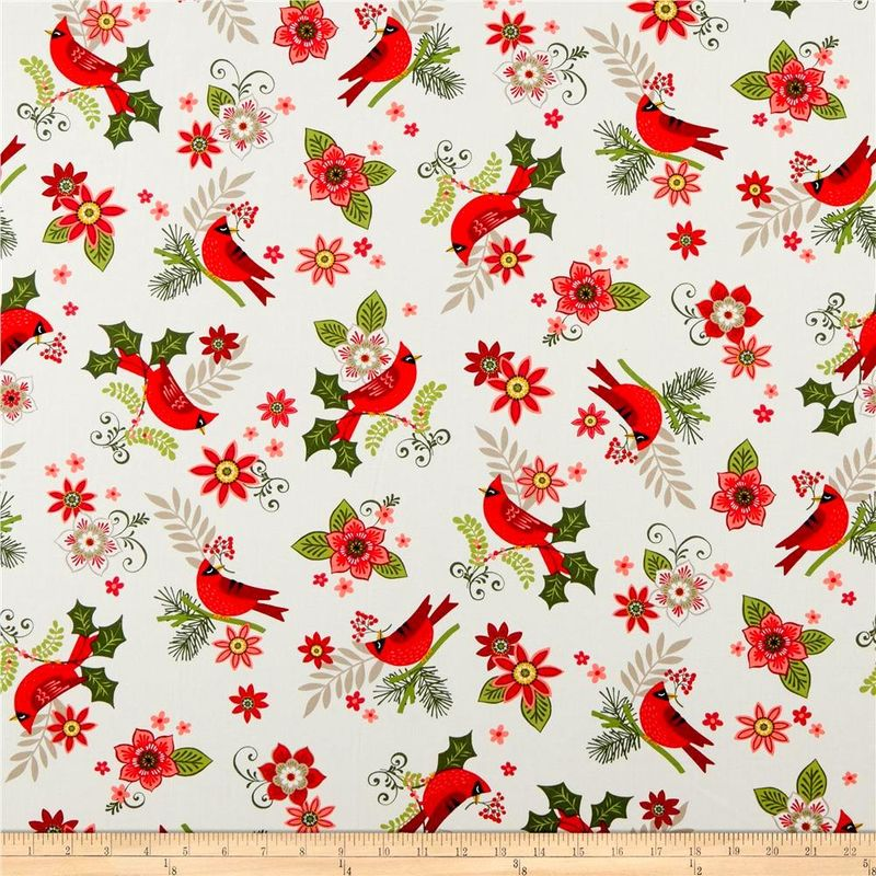 Cotton Quilt Fabric Christmas Mistletoe Cardinals Floral White Multi - product images  of