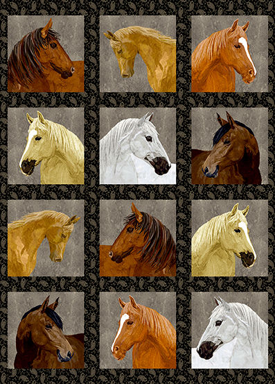 Cotton Quilt Fabric Thoroughbreds Horse Mates DIGITAL PRINT - product images  of