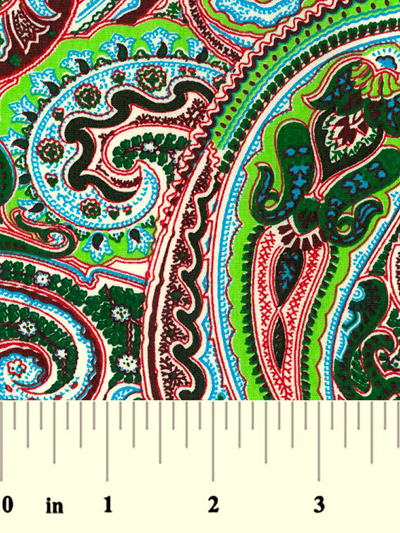"Cotton Quilt Fabric Large Paisley Floral Green Red 60"" Wide - product images  of"