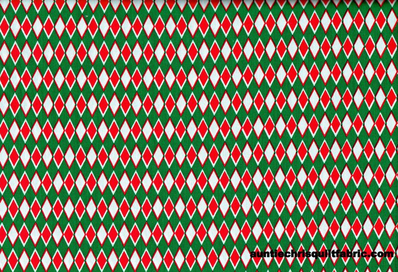 "Cotton Quilt Fabric Christmas Argyle Green Red White 60"" Wide - product images  of"