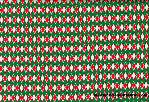 Cotton,Quilt,Fabric,Christmas,Argyle,Green,Red,White,60,Wide,,quilt backing, dresses, quilt fabric,cotton material,auntie chris quilt,sewing,crafts,quilting,online fabric,sale fabric