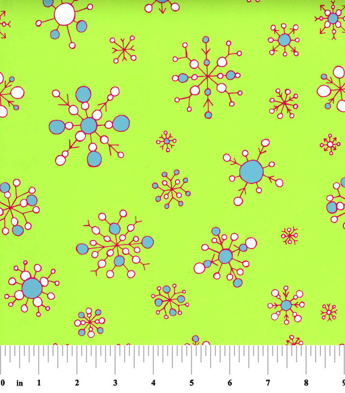 "Cotton Quilt Fabric Christmas Snowflakes On Lime Green 60"" Wide - product images  of"