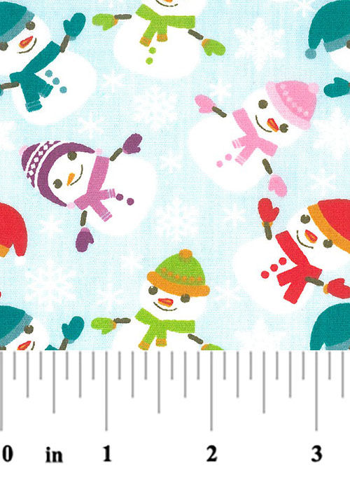"Cotton Quilt Fabric Christmas Snowmen Snowflakes Lt Blue 60"" Wide - product images  of"