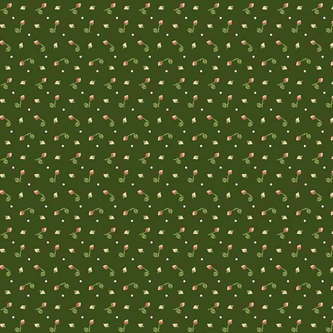 Cotton Quilt Fabric Tiny Rosebuds Herb Green Cut Yards - product image