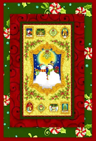 Easy,Fabric,Panel,Quilt,Kit,Mistletoe,Christmas,Snowmen,kit,quilt fabric,cotton material,auntie chris quilt,sewing,crafts,quilting,online fabric,sale fabric