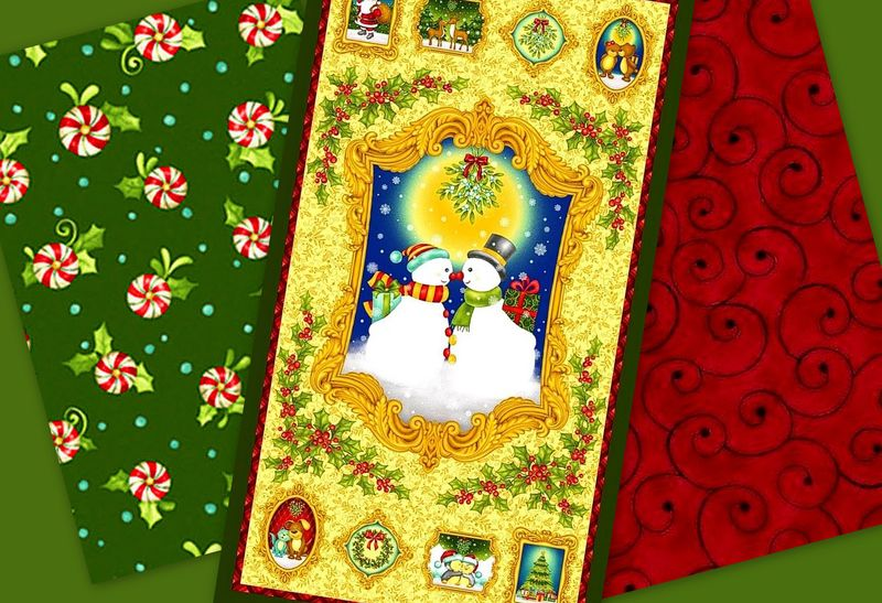 Easy Fabric Panel Quilt Kit Mistletoe Christmas Snowmen - product images  of