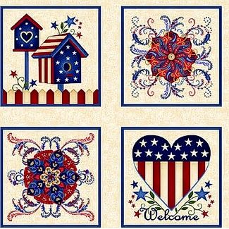 "Cotton Quilt Fabric Land That I Love Patriotic Panel Red White Blue 24"" - product images  of"
