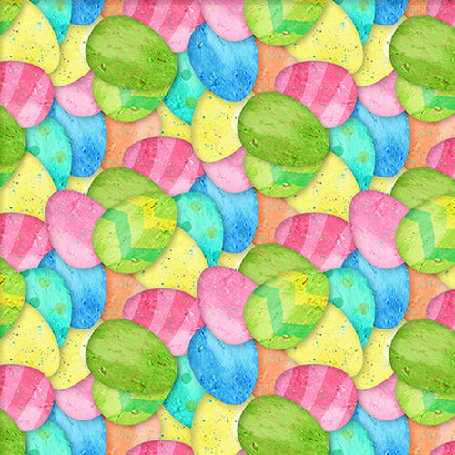 Cotton Quilt Fabric Easter Parade Pastel Easter Eggs Multi - product images  of