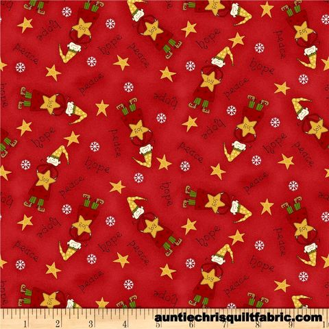 Cotton,Quilt,Fabric,Christmas,Elves,Peace,Joy,Scattered,Red,,quilt backing, dresses, quilt fabric,cotton material,auntie chris quilt,sewing,crafts,quilting,online fabric,sale fabric
