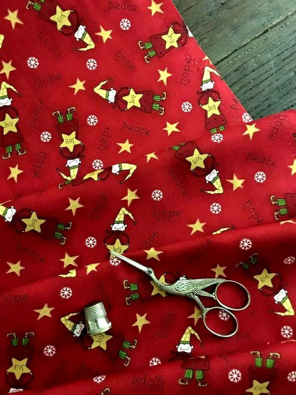 Cotton Quilt Fabric Christmas Elves Peace Joy Scattered Elves Red - product images  of