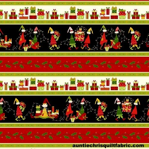 Cotton Quilt Fabric Christmas Elves Border Stripe Multi - product images  of