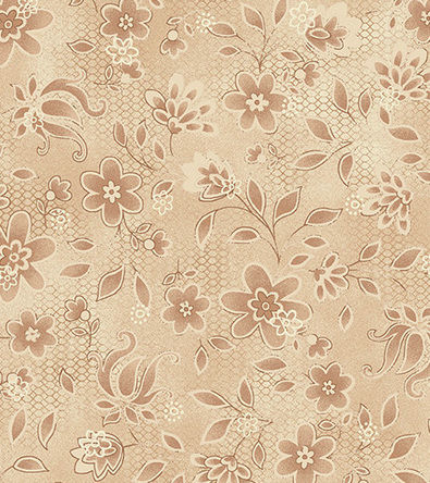 Cotton Quilt Fabric Tickled Pink Tone On Tone Floral Tan - product images  of