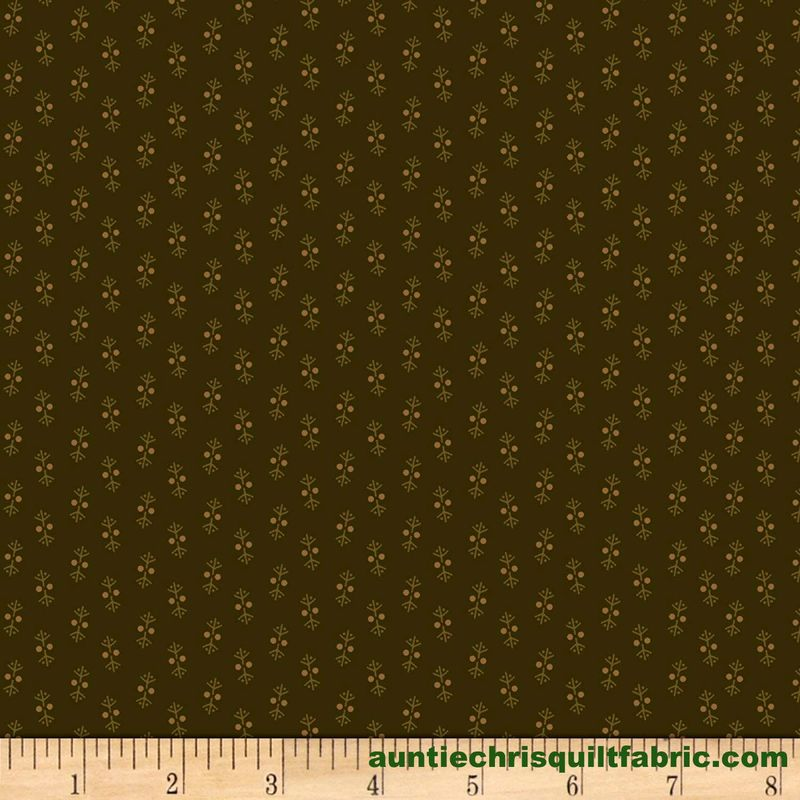 Cotton Quilt Fabric Buttermilk Blossoms Shirting Foulard Olive Green  - product images  of