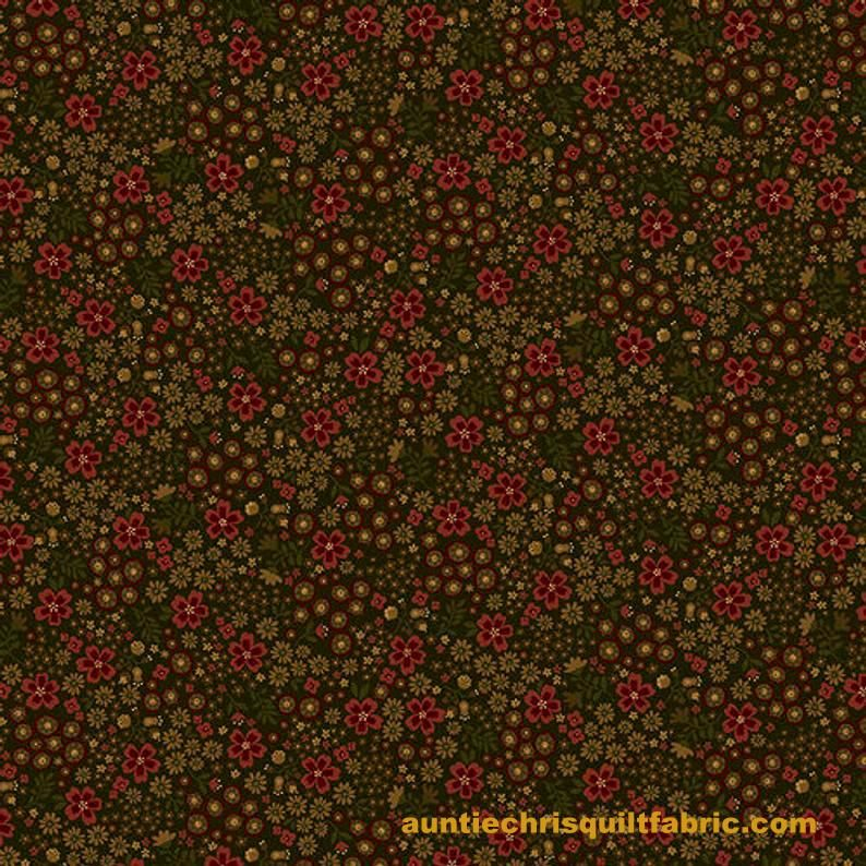 Cotton Quilt Fabric Home Is Best Flowers in Green Multi Floral - product images  of