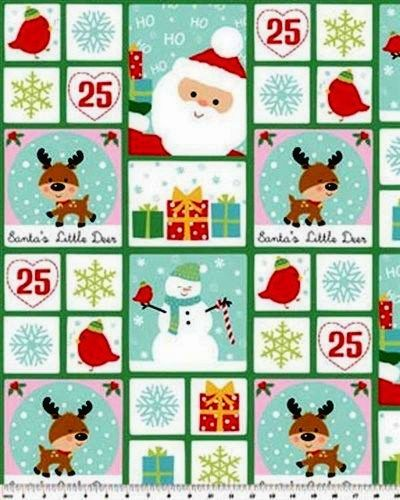 Christmas Fabric Panel Santa's Little Deer Patch Snowman Birds - product images  of
