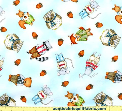 Cotton,Quilt,Fabric,FOREST,FRIENDS,GUY,LIGHT,BLUE,Animals,Acorns,,quilt backing, dresses, quilt fabric,cotton material,auntie chris quilt,sewing,crafts,quilting,online fabric,sale fabric
