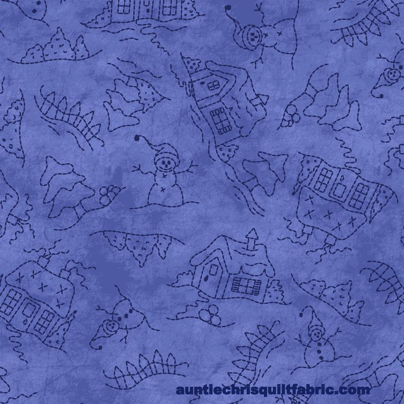 Cotton Quilt Fabric Roly-Poly Snowmen Snowmen Landscape blue Tone On Tone - product images  of