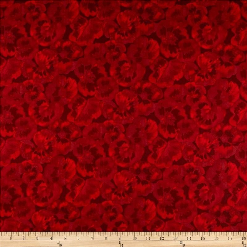 Cotton Quilt Fabric Chloe Tonal Geraniums Red Floral - product images  of