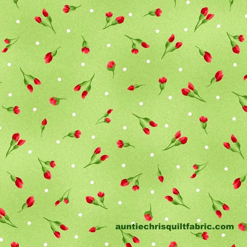 Cotton Quilt Fabric Chloe Light Green Rose Buds Floral - product images  of