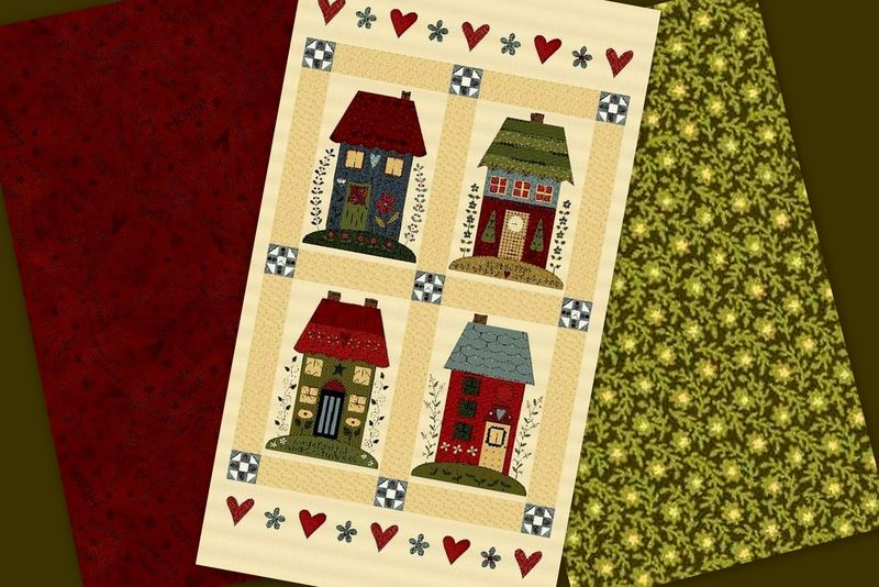 Easy Fabric Panel Quilt Kit Home Sewn Cottages - product images  of