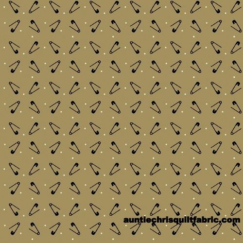 Cotton Quilt Fabric Primitive Stitches Safety Pins Dots Tan - product image