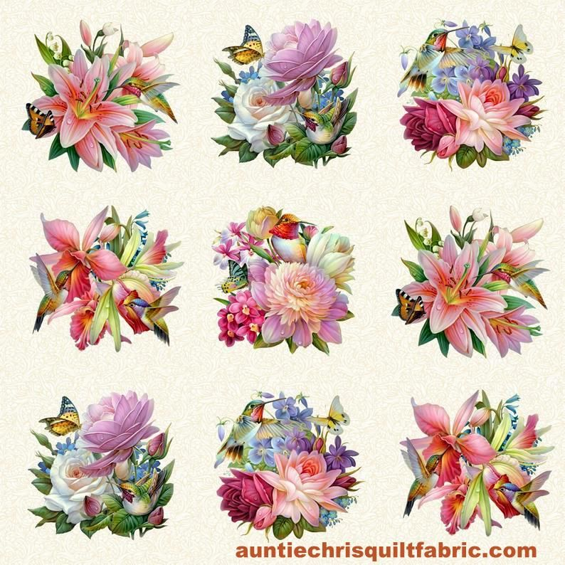 "Cotton Quilt Fabric Hummingbird Bouquet Floral Cream Panel 24"" - product images  of"