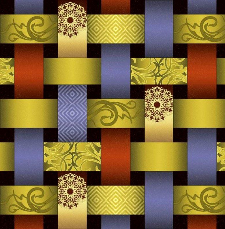 Cotton Quilt Fabric EBI Reflections Earth Tone Ribbons Olive Rust Black Gold - product images  of
