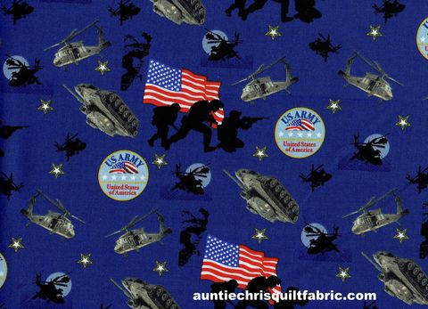 Cotton,Quilt,Fabric,Army,USA,Patriotic,Tanks,Helicopters,American,Flag,Blue,,quilt backing, dresses, quilt fabric,cotton material,auntie chris quilt,sewing,crafts,quilting,online fabric,sale fabric