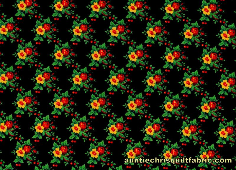Cotton Quilt Fabric French Garden Trellis Floral Black Multi Floral - product images  of