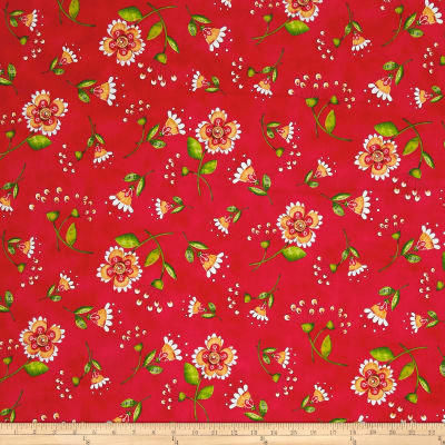 Cotton,Quilt,Fabric,Love,Grows,Here,Flower,Toss,Red,Floral,,quilt backing, dresses, quilt fabric,cotton material,auntie chris quilt,sewing,crafts,quilting,online fabric,sale fabric