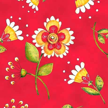 Cotton Quilt Fabric Love Grows Here Flower Toss Red Floral - product images  of
