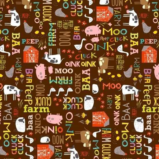 Cotton Quilt Fabric Wildflower Farm Animal Noises Cow Pig Chicken - product images  of