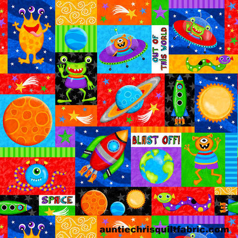 Cotton,Quilt,Fabric,Lost,In,Space,Patch,Multi,Aliens,Rockets,,quilt backing, dresses, quilt fabric,cotton material,auntie chris quilt,sewing,crafts,quilting,online fabric,sale fabric
