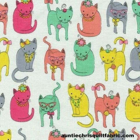 Cotton,Quilt,Fabric,Fancy,Felines,Dressy,Cats,White,Multi,,quilt backing, dresses, quilt fabric,cotton material,auntie chris quilt,sewing,crafts,quilting,online fabric,sale fabric