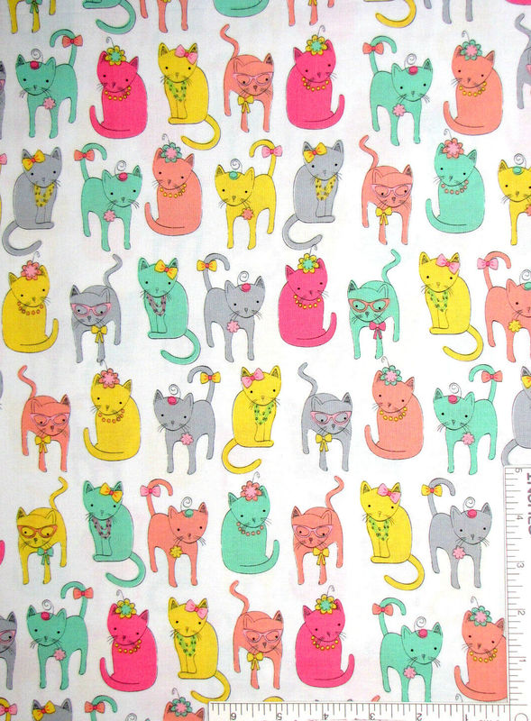 Cotton Quilt Fabric Fancy Felines Dressy Cats White Multi - product images  of