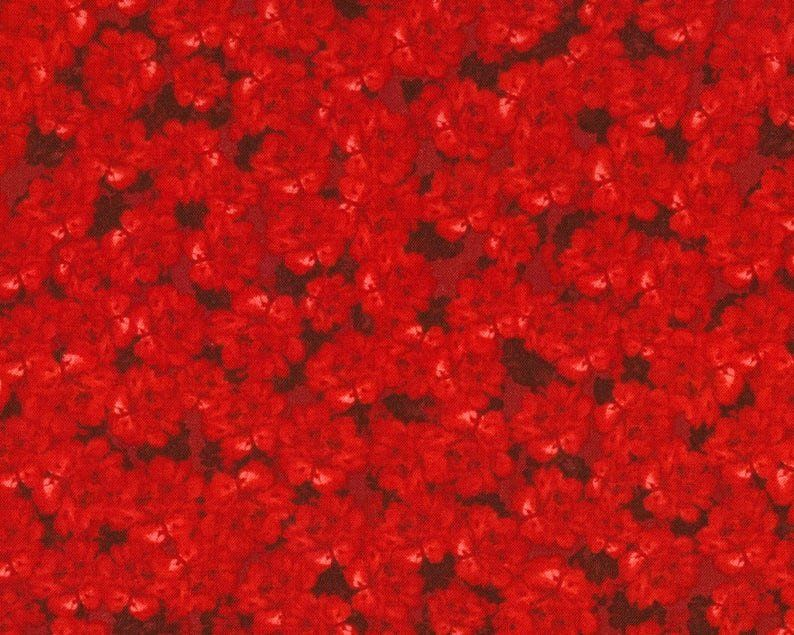 Cotton Quilt Fabric Colette Red Packed Flowers Tone On Tone - product images  of
