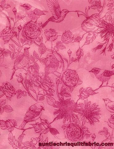 Cotton,Quilt,Fabric,Petal,Party,Bird,Toile,Pink,Chong-a,Hwang,,quilt backing, dresses, quilt fabric,cotton material,auntie chris quilt,sewing,crafts,quilting,online fabric,sale fabric